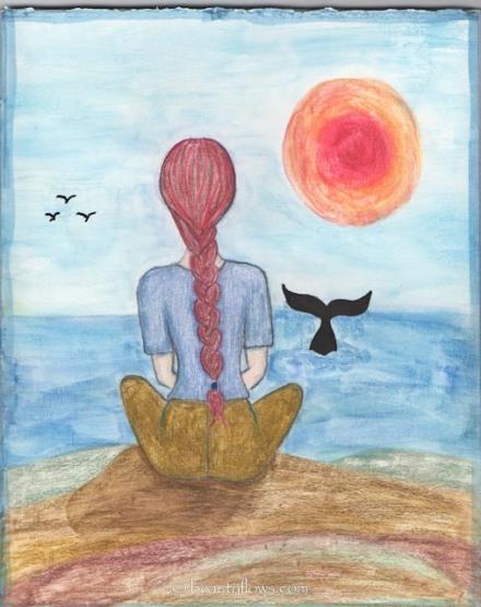 meditando, mujer sentafa